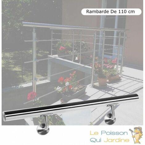 Rambarde, 110 cm, Acier Inoxydable, Rampe D'Escalier, Main Courante - Acier