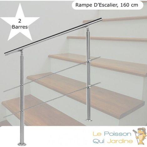 Rampe D'Escalier Sur Pied, 160 cm, Acier Inoxydable, 2 Barres - Acier
