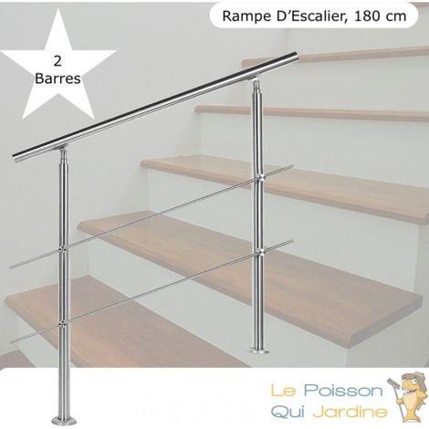 Rampe D'Escalier, Rambarde, Sur Pied, 180 cm, Acier Inoxydable, 2 Barres - Acier