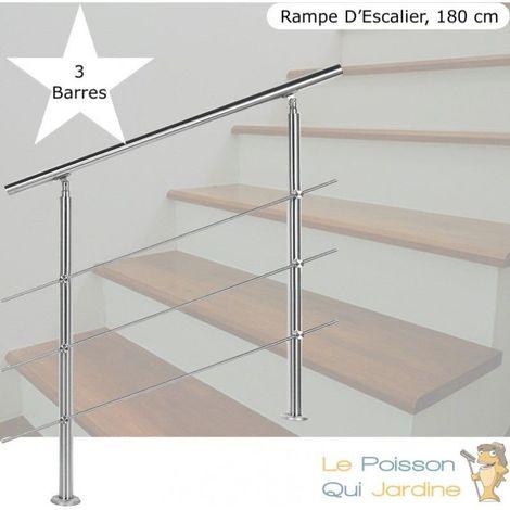 Rampe D'Escalier, Rambarde, Sur Pied, 180 cm, Acier Inoxydable, 3 Barres - Acier