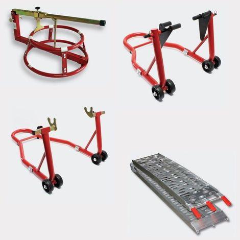 Pack lot béquilles d'atelier, démonte pneu, rampe pliable pour piste moto
