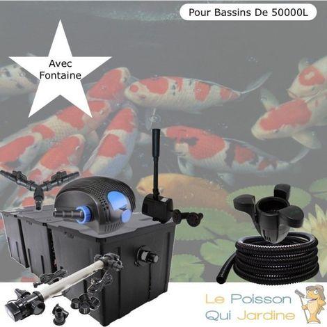 Kit Filtration Complet, 110W, Acier Inoxydable + Fontaine, Bassins De 50000 L