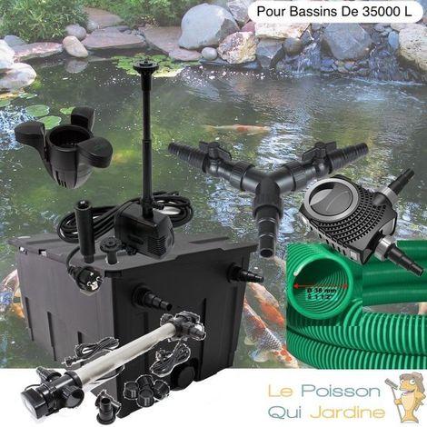 Kit Filtration, UV110W Acier Inoxydable + Écumeur, Fontaine, Bassins 35000 L