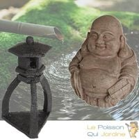 2 Décorations De Bassin De Jardin, Bouddha + Pagode Noire