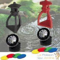 2 Décorations De Bassin De Jardin, Pagode Noire, Pagode Rouge + 2 Spots LED 1,5W