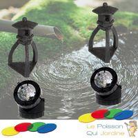 2 Décorations De Bassin De Jardin, Pagode Noire + 2 Spots LED 1,5W