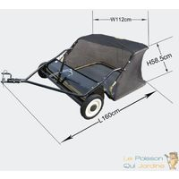 Remorque Balai Ramasse Feuilles, Gazon 95 cm Pour Tondeuse Auto Portée