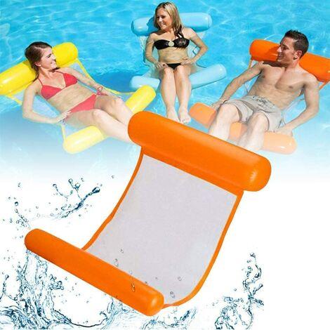 Aufblasbares Schwimmbett, Wasser-Hängematte 4-in-1Loungesessel Pool Lounge luftmatratze Pool aufblasbare hängematte Pool aufblasbare hängematte für Erwachsene und Kinder ( Orange)