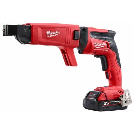 Milwaukee M18 FSGC-202X 18V Batería de ión de litio Máquina de tornillo de yeso / Juego de máquina de tornillo de cinturón (2x 2.0Ah) en caja HD - carbón sin escobillas