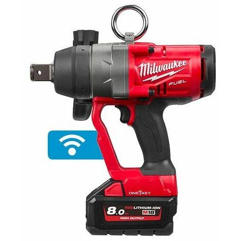 Milwaukee M18 ONEFHIWF1-802X One-Key 18V Litio-Ion batería Juego de Atornillador de impacto (2x baterías 8.0Ah) en HD-Box - 2033Nm - sin escobillas