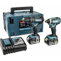 Makita DLX2131JX 18V Li-Ion batería Taladro combinado de impacto (DHP482) & Atornillador de impacto (DTD152) combiset (2x baterías 3.0Ah) en maletín Mbox