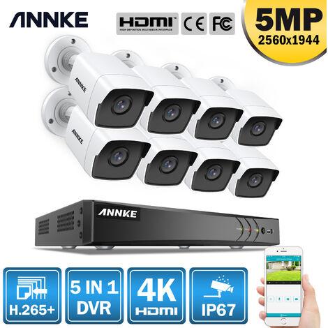 ANNKE Sistema de cámara CCTV Ultra HD 4K H.265 + de 8 canales y 8 × 5MP HD - sin disco duro