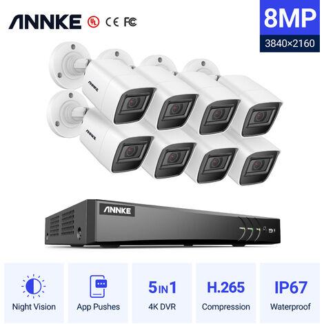 ANNKE 4K H.265 Ultra HD 4K H.265 DVR Sistema de cámara CCTV y 8 HD 4K HD Cámaras de visión nocturna de alta definición con EXIR LED Infrarrojo Visión nocturna - sin disco duro