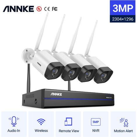 ANNKE Sistema de cámara de seguridad IP WiFi de 8 canales con 4 cámaras de vigilancia inalámbricas para interiores al aire libre 1080p sin HDD