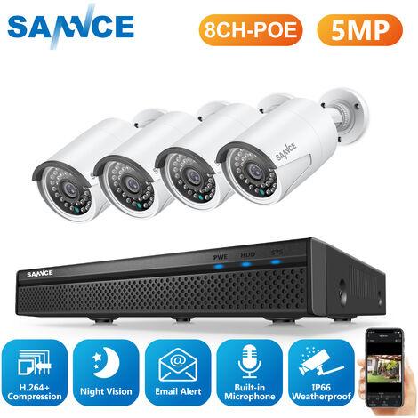 SANNCE Sistema de seguridad de video de red PoE FHD de 5MP, NVR de vigilancia de 8CH y 5MP con compresión de video H.264 +, cámaras impermeables de 4 * 5MP HD - No contiene un disco duro