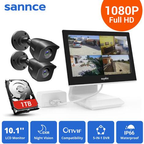 SANNCE KIT Video Vigilancia con pantalla 10.1 pulgadas LCD 4CH DVR + 2 cámara bala HD 1080P interior / exterior visión nocturna 20m – con disco duro de 1TB
