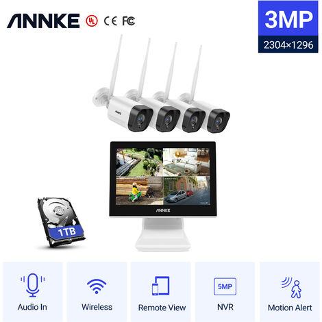 ANNKE Sistema de cámara de seguridad NVR inalámbrica HD de 4 canales y 5MP con cámaras WiFi de 3MP Visión nocturna de 100 pies H.264 + Micrófono incorporado LCD de 10.1 '' para vigilancia en exteriores / interiores - Disco duro de 1TB