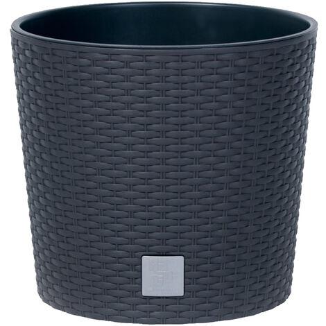 PROSPERPLAST Rato Pot rond anthracite 15 litres avec pot à planter Ø 30 x 27 cm