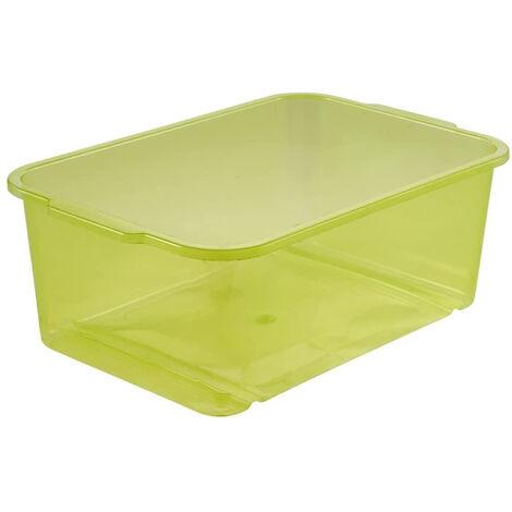 Boîte de rangement, Plastique solide (PP), 4,5 l, 30 x 20 x 11 cm, Wilma, Vert transparent
