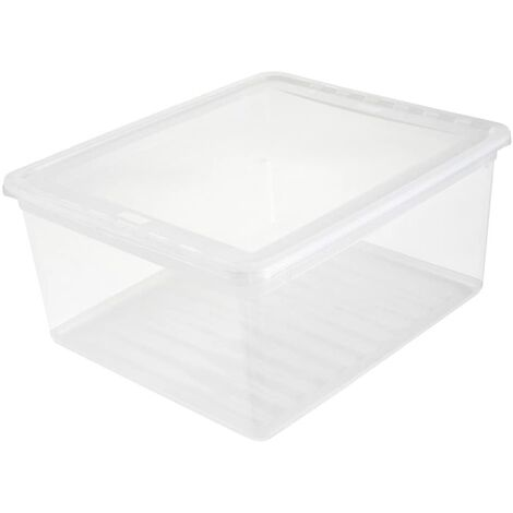Boîtes de rangement, plastique, naturel transparent, 39 x 33,5 x 18 cm