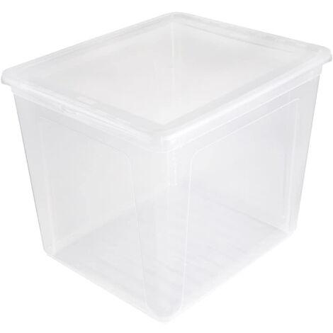 Boîtes de rangement, plastique, naturel transparent, 39 x 33 x 32 cm
