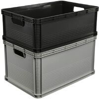 Boîte de rangement, Plastique, Gris graphite, 45 l
