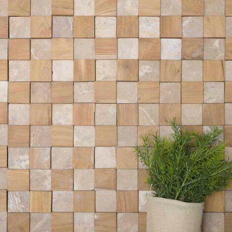 Parement mural carrés pierre et teck beige 55x20 cm