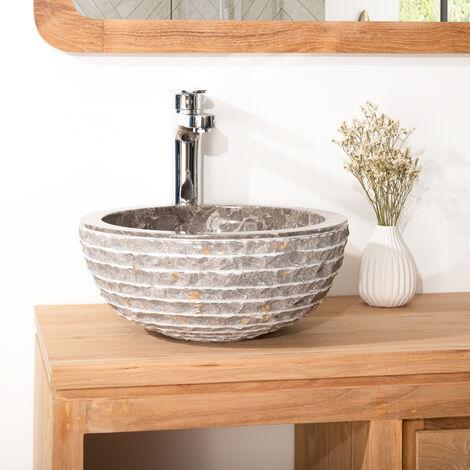 Lave mains en marbre Vésuve pierre gris 35cm