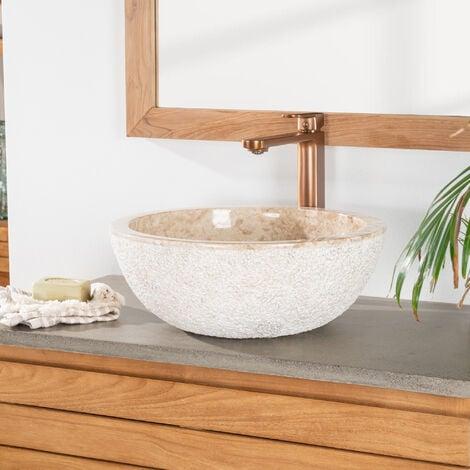 Vasque Stromboli à poser en marbre crème 40cm