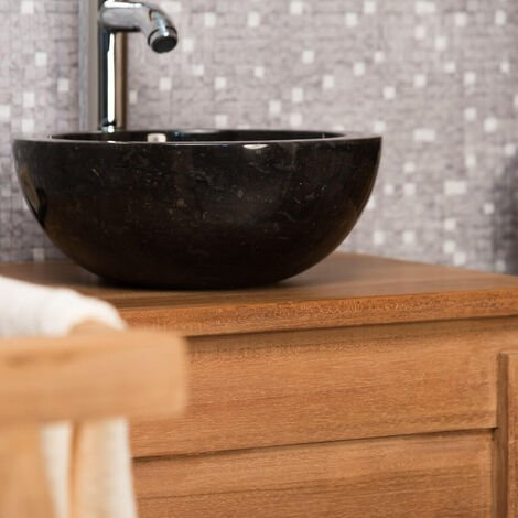 Vasque Ronde BARCELONE à poser en marbre de couleur Noir - Diamètre 30 cm