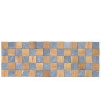 Parement mural carrés pierre et teck gris 55x20 cm
