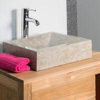 Vasque salle de bain à poser Alexandrie rectangle 30cm x 40cm gris taupe