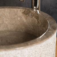 Vasque salle de bain en marbre Elbe gris 40cm