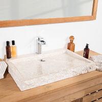 Grande vasque 70cm à poser rectangle en pierre marbre Cosy crème
