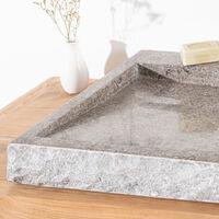 Grande vasque 70cm à poser rectangle en pierre marbre Cosy gris