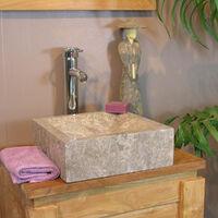 Vasque salle de bain à poser Alexandrie carré 30cm x 30cm gris taupe