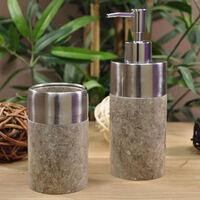 Gobelet salle de bain en marbre et inox gris