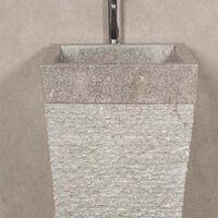 Vasque salle de bain sur pied en pierre pyramide Havana gris
