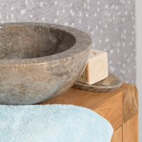 Vasque ronde Barcelone à poser en marbre de couleur gris - diamètre 30 cm