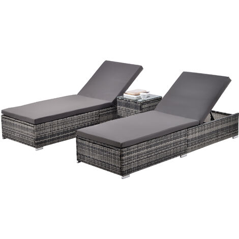 2 sun loungers + table, rattan - reclining sun lounger, garden lounge chair, sun chair - grey