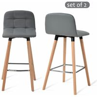 Bar Stools Set of 2 with Back Rest Faux Leather Grey