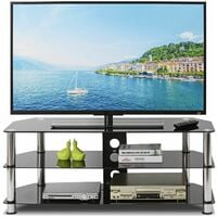 TV Stand Table Unit Curved Glass Table Televisions for 32-45 inch Plasma