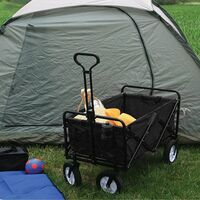 Garden Cart Foldable Pull Wagon Hand Cart Garden Transport Cart Collapsible Portable Folding Cart Black