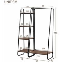 Heavy Duty Clothes Rail Metal Coat Stands with Shoe Rack Storage Cabinet Wardrobe 4 Tiers Ladder Bookshelf Shelving Unit Vintage Wood