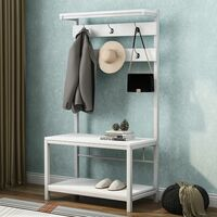 Coat Rack Stand, Industrial Coat Tree, Hall Tree Free Standing, Hall Shoes Rack with Removable Hooks Height 150 cm White