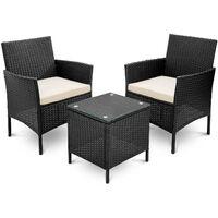 Rattan Wicker Garden Furniture Set 3 Piece Patio Outdoor Rattan Patio Set Includes Cushion One Glass Table Black