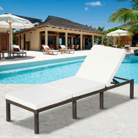 Rattan Garden Sun Lounger Sun Bed with Cushions Recliner Garden Chair Grey