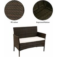 Rattan Furniture Set for Outdoor Garden or Indoor Conservatory, 4 Pcs Set Rattan Sofa Chairs Brown