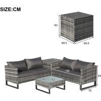 4 PCs Garden Rattan Coner Sofa Set Outdoor Furniture Patio Sofa with Large Storage Box, Grey