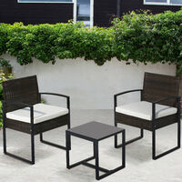 Rattan Garden Furniture Set 3 piece Patio Rattan furniture sofa set with 2 Armchairs and 1 table Outdoor Conservatory Indoor Brown